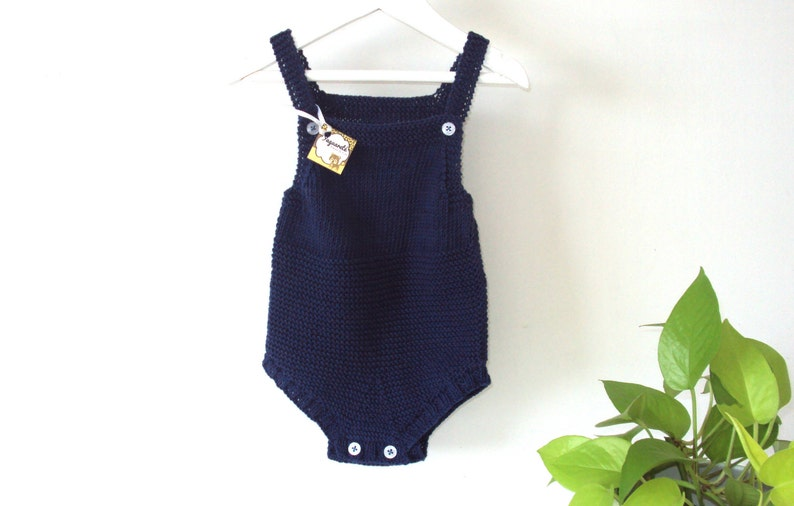 5c93de63e08a Navy Knit Baby Sunsuit Organic Cotton READY TO SHIP