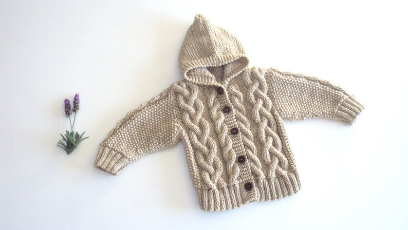 55150d8cd Knit Baby Hooded Jacket Cable knitted jacket Hooded baby