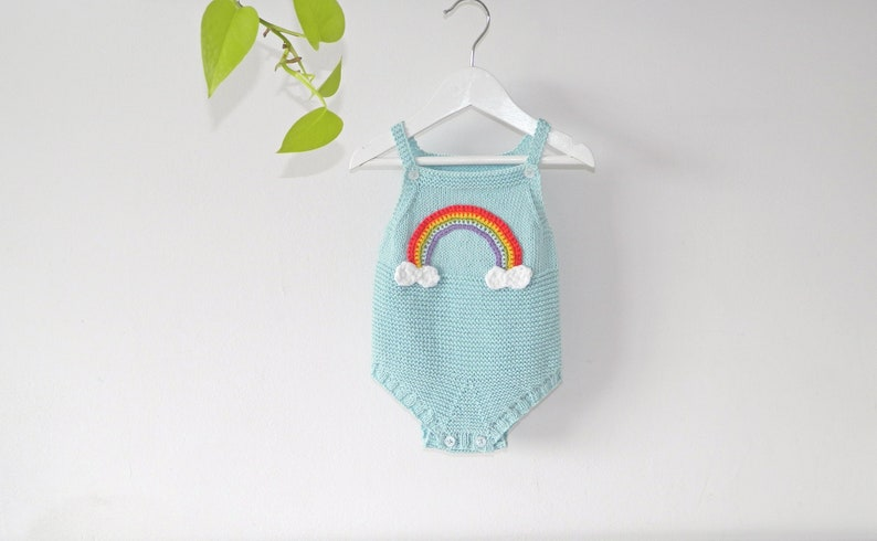 0384cb8fd RAINBOW Knit Baby Romper Handknitted cotton baby sunsuit