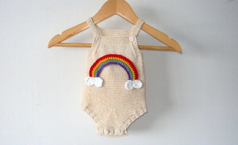 f81811b05 Knit Rainbow Baby Romper Organic Cotton Handknitted cotton