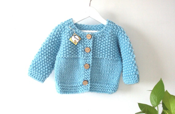 7fb2735d5 Light Blue Knit Baby Cardigan Blue Knit Jacket for babies