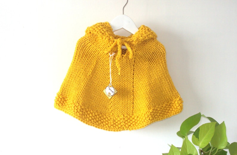 5f0484543 Yellow Wool Baby Poncho with hood Handknitted Merino Baby