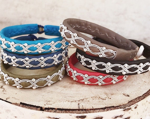 Sami reindeer leather bracelets with sterling silver beads.
