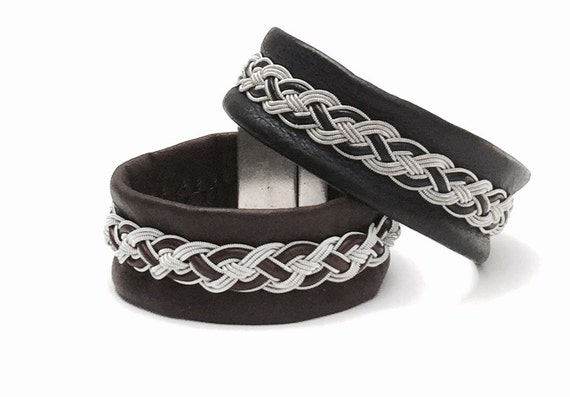 Traditional Scandinavian Viking cuff in reindeer leather and pewter.