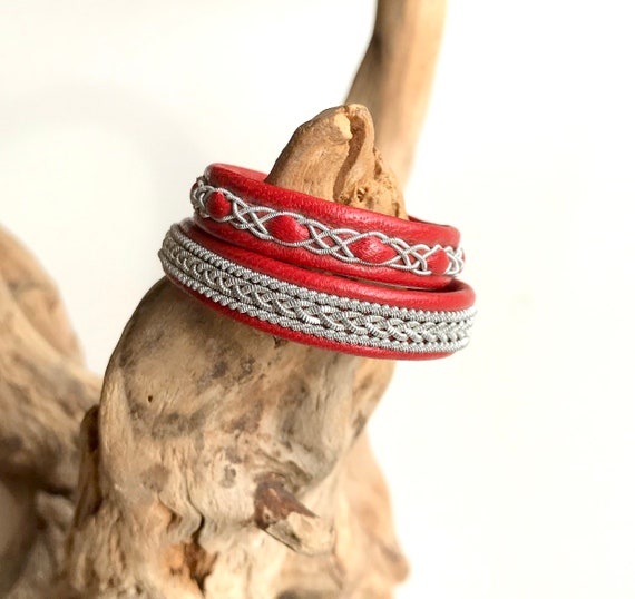 Swedish Sami red reindeer leather bracelets.