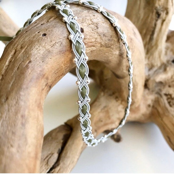 Scandinavian light olive Sami reindeer leather necklace with a full set of sterling silver beads.