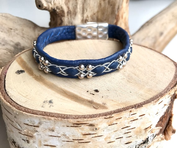 Sami blue reindeer leather, sterling silver beads bracelet, and magnetic clasp.