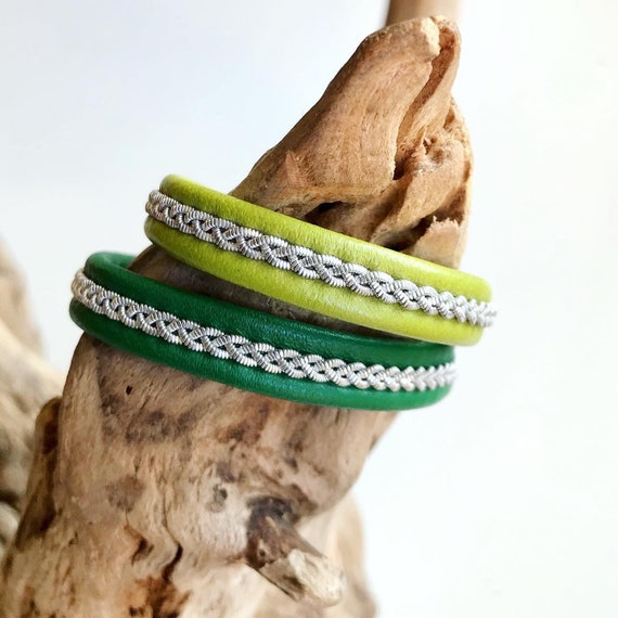 Swedish Sami green reindeer leather bracelet with traditional pewter braiding in lime green or jade.