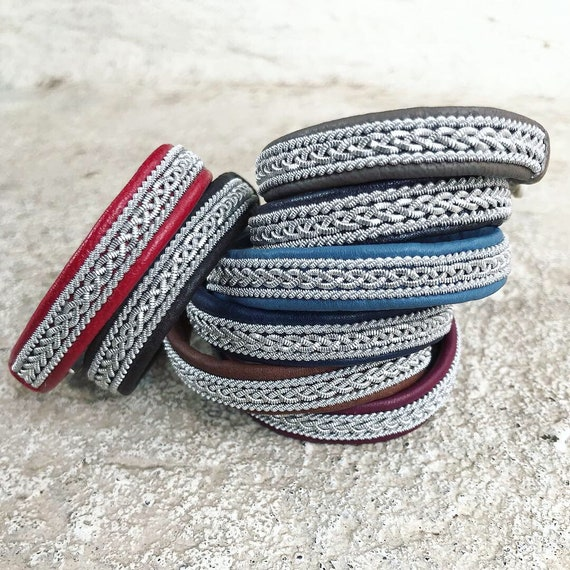 Sami Lapland  leather bracelets with a braid of flat pewter threads and borders.