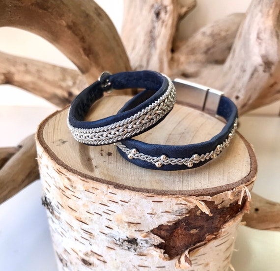 Navy reindeer leather and pewter bracelets.