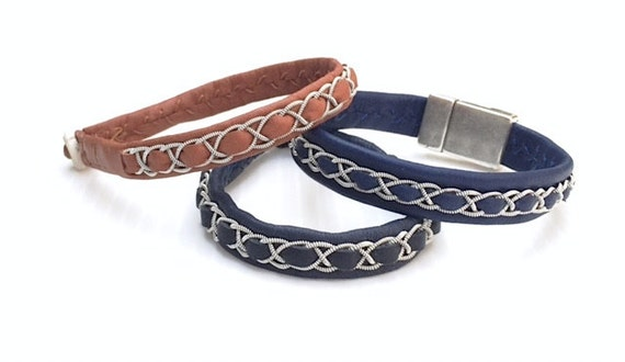 Sami Swedish unisex reindeer leather bracelet.