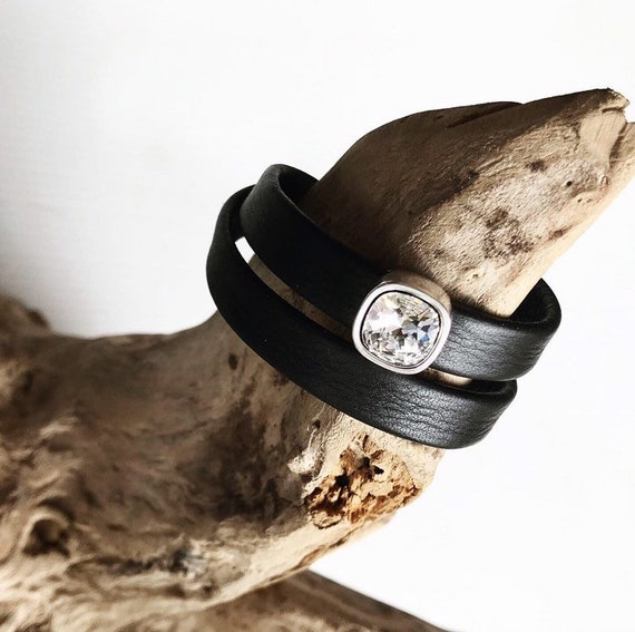 Wrap around Swedish reindeer leather bracelets with magnetic clasp and a square Swarovski slider.