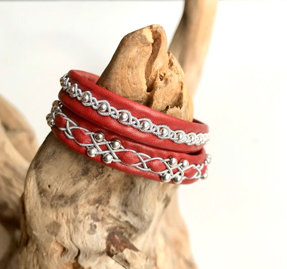 Swedish Shimmering red reindeer leather bracelet with sterling silver beads.