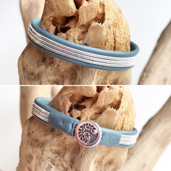 Lapland Viking reindeer leather and pewter braided bracelet.