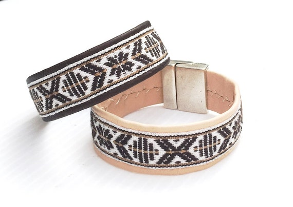 Scandinavian reindeer leather bracelet with woven cotton bands.