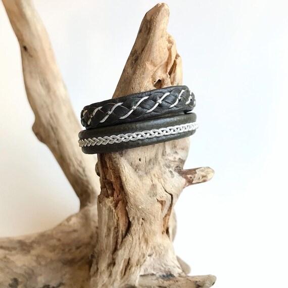 Sami olive reindeer leather and pewter bracelets.