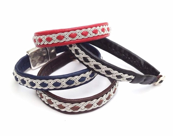 Traditional Sami reindeer leather bracelets with pewter braids. Lapland unisex bracelet.