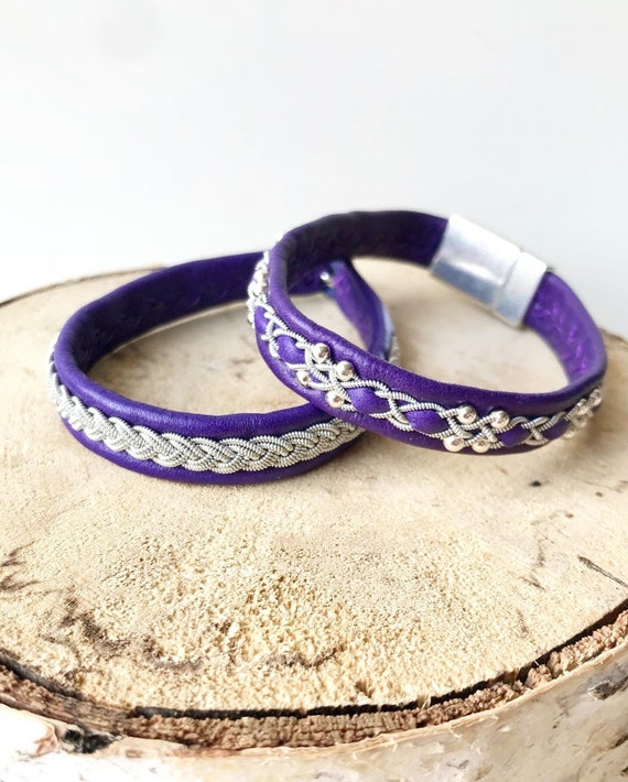 Swedish Purple reindeer leather bracelet with traditional pewter braiding OR with sterling silver beads.