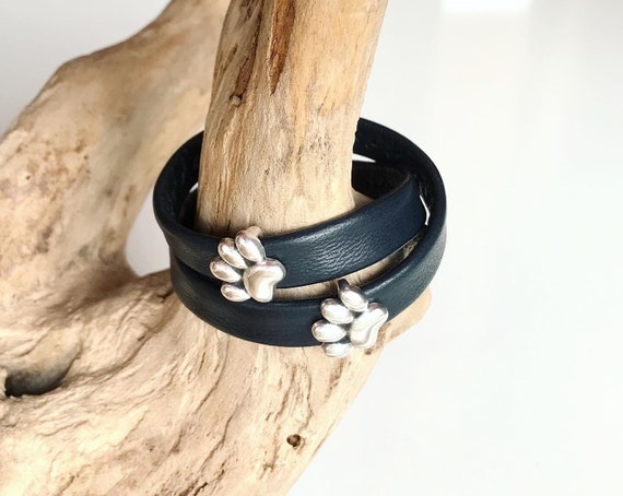 Wrap around reindeer leather bracelet with a magnetic clasp and paws silver slider.