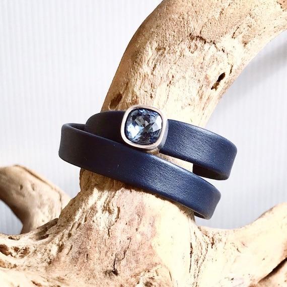 Navy or blue Swedish reindeer leather wrap bracelets with a square blue Swarovski slider.