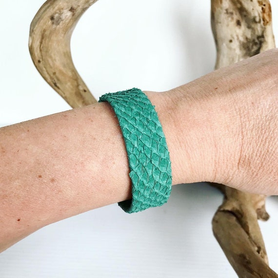 Aqua salmon leather wide cuff bracelet with magnetic clasp.