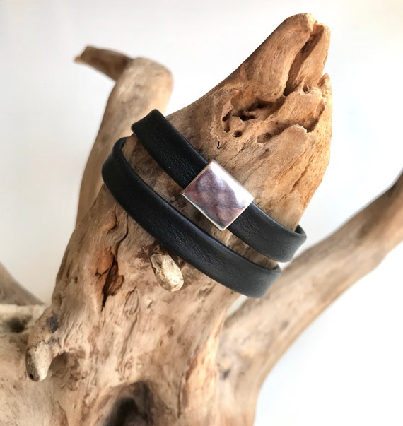 DOUBLE wrap around reindeer leather bracelet with a magnetic clasp and a rectangular hammered silver slider.