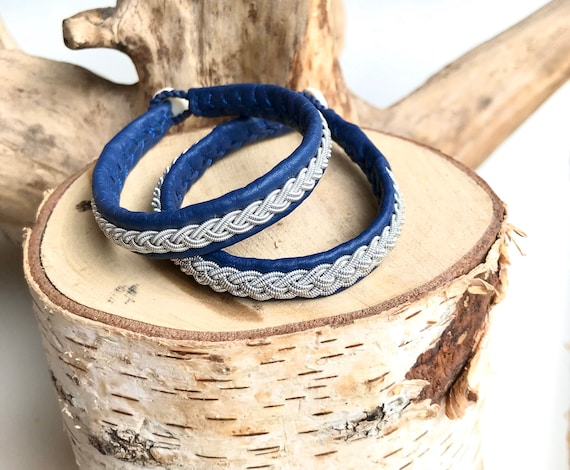 Traditional Sami pewter braided blue reindeer leather bracelets.