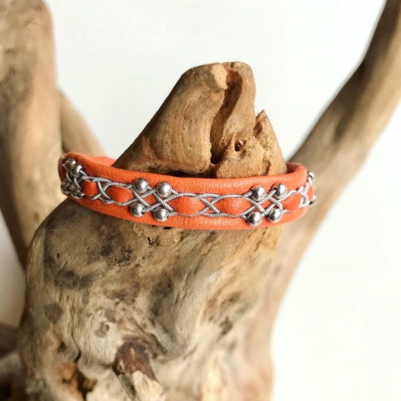 Swedish Orange reindeer leather bracelet with sterling silver beads.