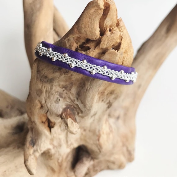 Sami purple reindeer leather, pewter and sterling silver beads bracelet with a magnetic clasp.