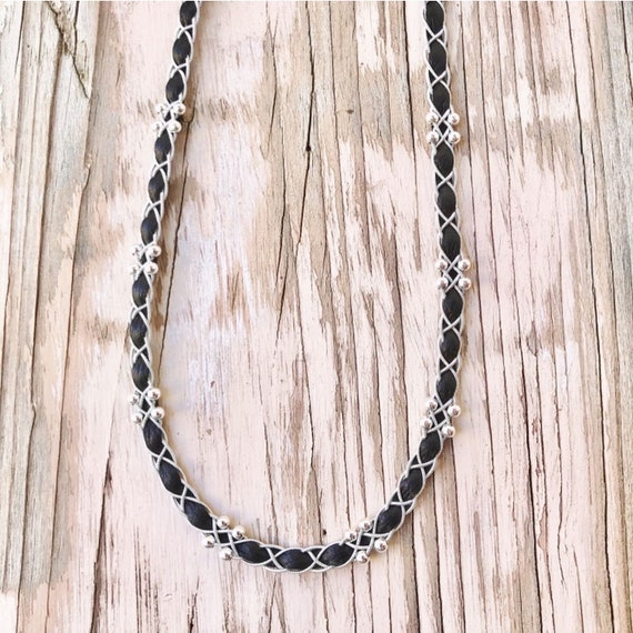 Scandinavian brown Sami reindeer leather necklace with sterling silver beads.