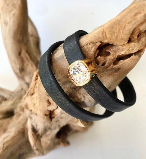 Wrap around reindeer leather bracelets with magnetic clasp and a square Swarovski slider.