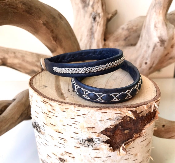Sami navy reindeer leather and pewter bracelets.