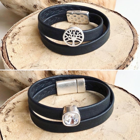 Wrap around black reindeer leather bracelet with magnetic clasps and sliders.