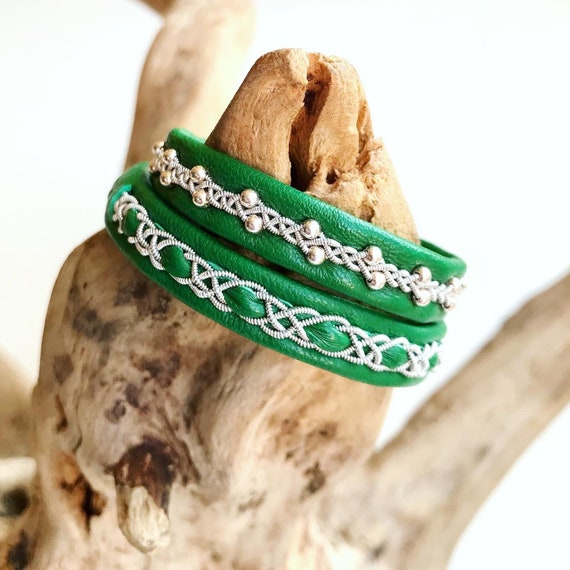 Swedish Jade green reindeer leather bracelet with traditional pewter braiding OR with sterling silver beads.