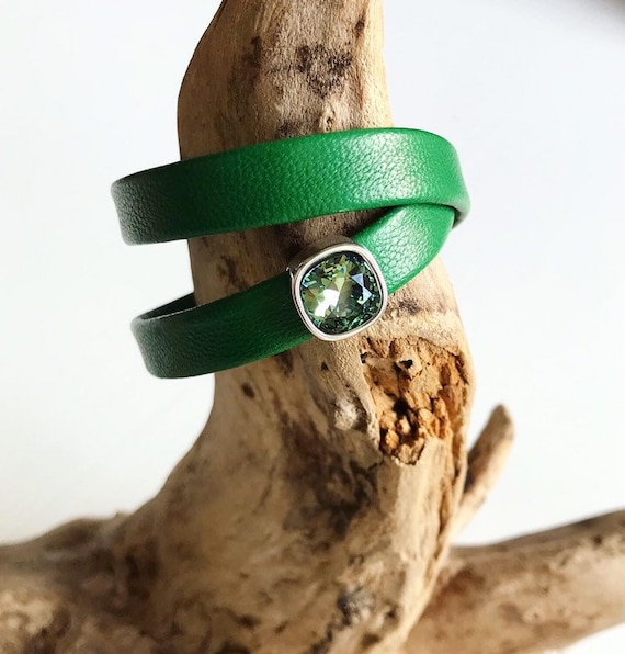 Jade green reindeer leather bracelets with magnetic clasp and a square erinite Swarovski slider.