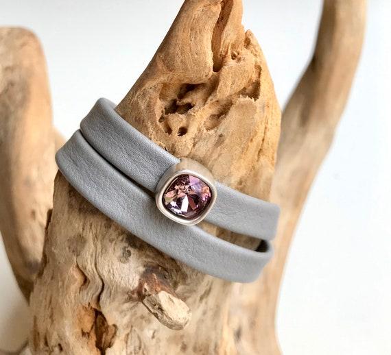 Light - medium grey wrap around reindeer leather bracelet with a magnetic clasp and Swarovski slider.
