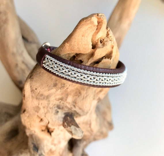 Nougat or burgundy Nordic viking style reindeer leather bracelet.