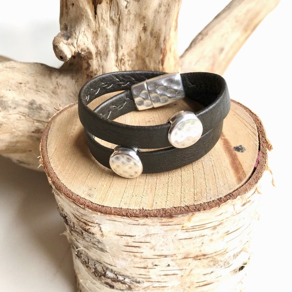 Olive wrap around reindeer leather bracelets with a magnetic clasps.