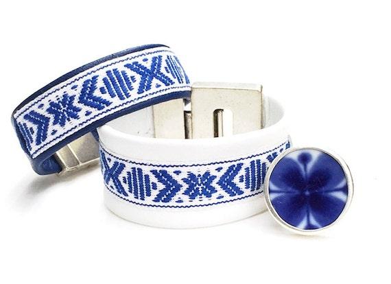 Scandinavian WIDE reindeer leather bracelet with woven cotton bands.