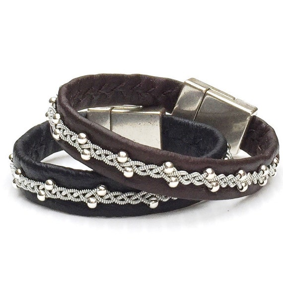 Scandinavian Willow bracelets in reindeer leather and sterling silver beads.