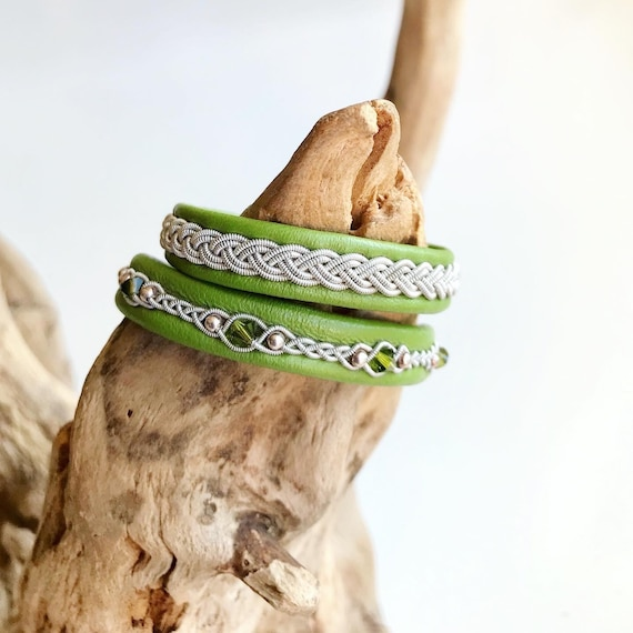 Swedish Apple green reindeer leather bracelet with traditional pewter braiding OR with sterling silver beads.