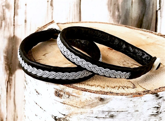 Traditional Sami reindeer leather and pewter braided bracelet