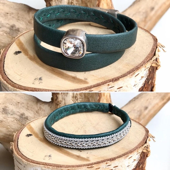Forest green reindeer leather bracelets, either as a double wrap or traditional pewter braided.