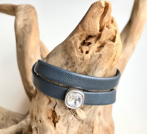 Charcoal blue wrap around reindeer leather bracelet with a magnetic clasp and a Swarovski slider.