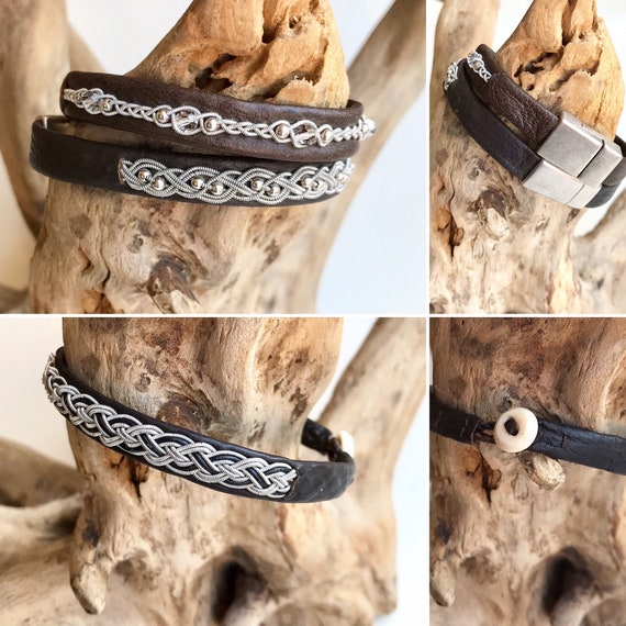 Sami brown reindeer leather and pewter bracelets.