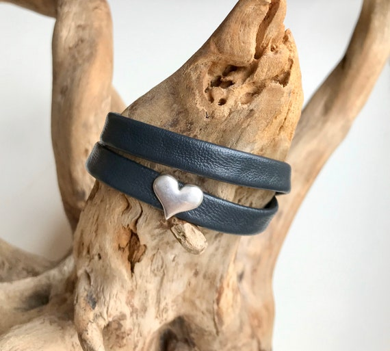 Charcoal wrap around leather bracelet with a magnetic clasp and a heart slider.