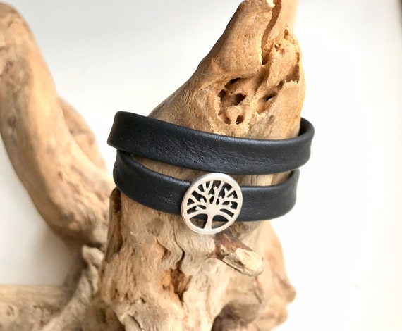 Wrap around reindeer leather bracelet with a magnetic clasp and a tree of life silver slider.