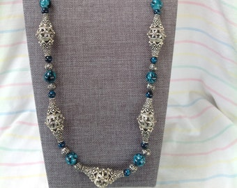 Teal and Silver Necklace
