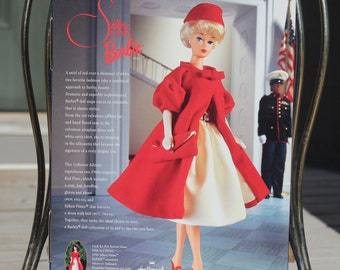 PURSE BARBIE MATTEL VINTAGE REPRODUCTION SILKEN FLAME  RED VELVETEEN HANDBAG