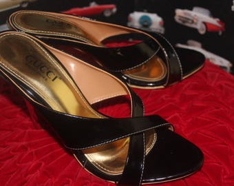 a3746fc924a NEVER WORN Size6 Designer Fashion GUCCI Black Patent Leather Gold Sliver  Mirror Cross Strappy Open Toe Slip On High Heels Pumps Shoes Pin Up